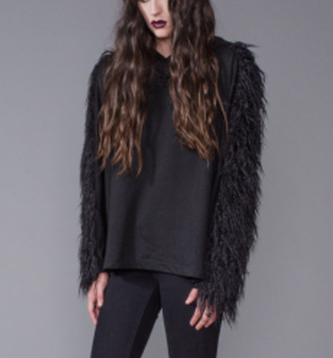 Widow Faux Fur Pullover Hoodie : Delicious Boutique