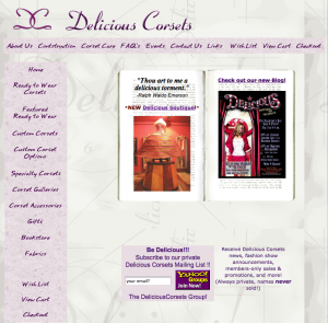 Our old Delicious Corsets site, 2005.