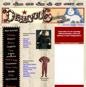 Our old Delicious Boutique site, 2005